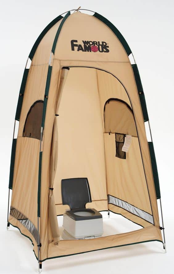 Changing tent with portable toilet