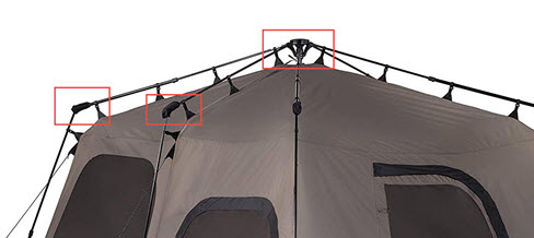 Tent collapse joints